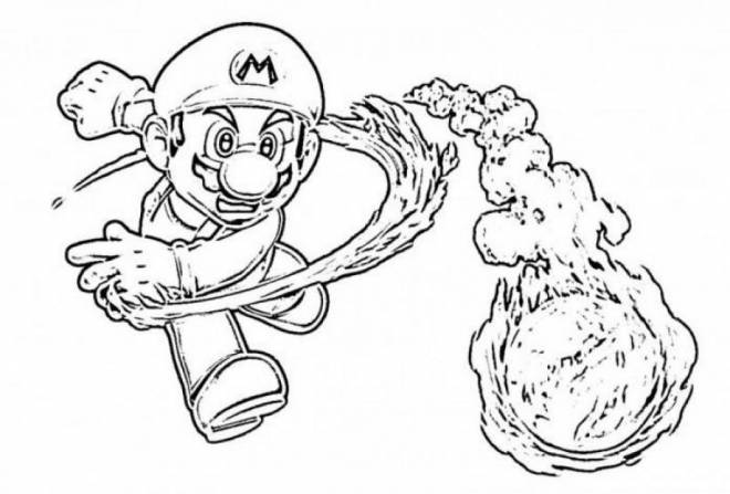 Free coloring and drawings Super Mario and The Colored Fire Balloon Coloring page