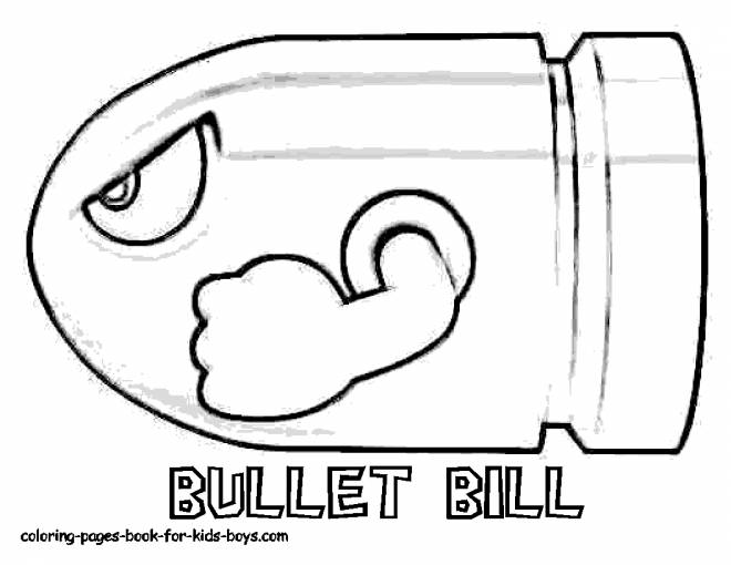 Free coloring and drawings Super Mario Bullet Bill Coloring page