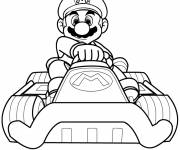 Coloring pages Super Mario drives the Karting Car