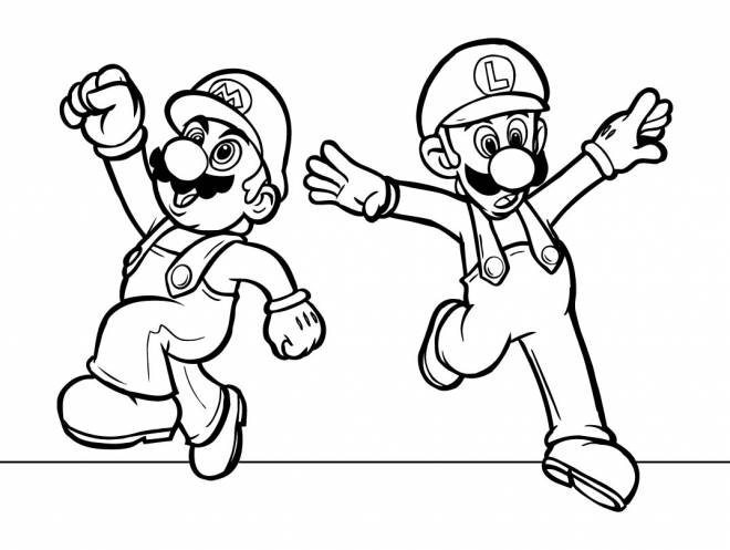 Free coloring and drawings Super Mario easy Coloring page