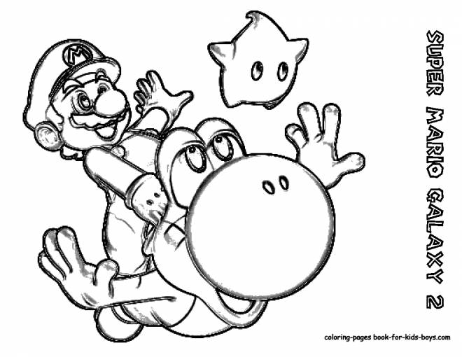 Free coloring and drawings Super Mario Galaxy in pencil Coloring page