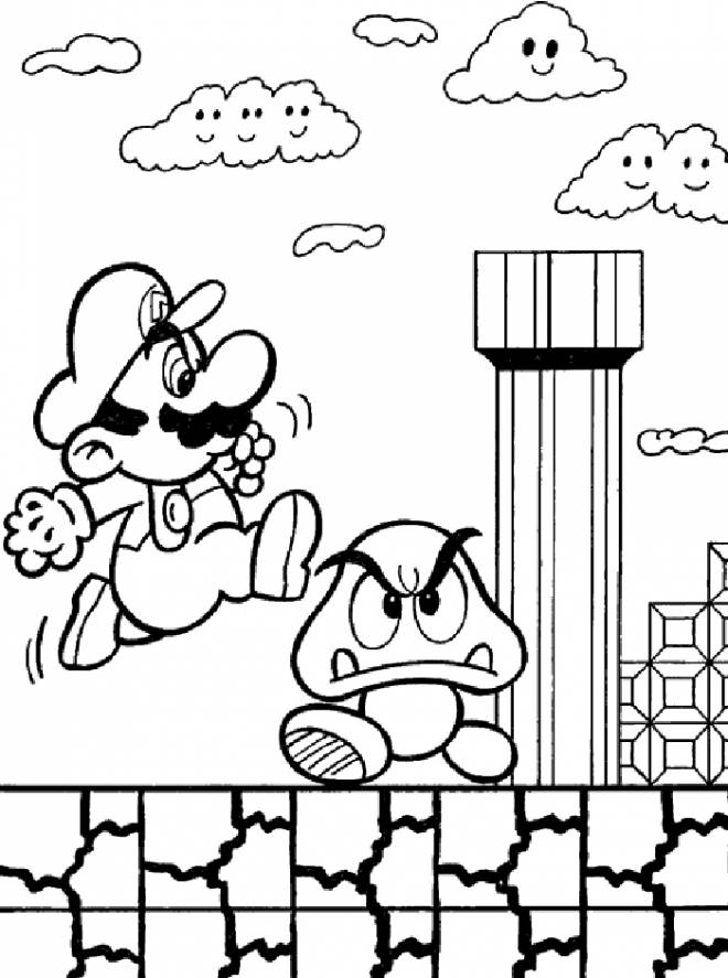 Free coloring and drawings Super Mario games for children Coloring page