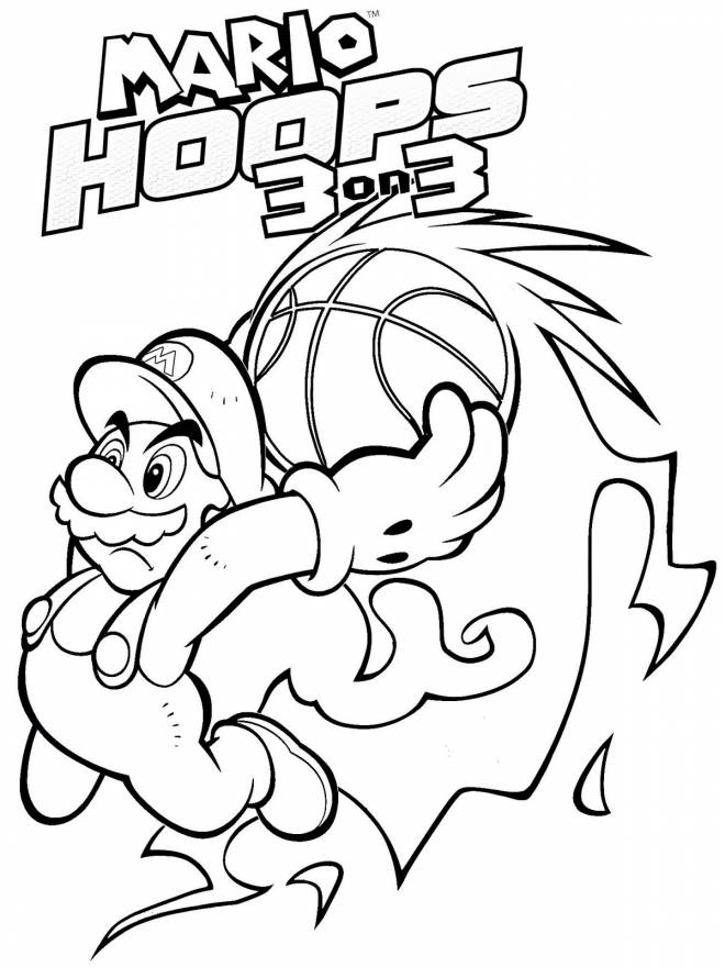 Free coloring and drawings Super Mario Hoops Basket Coloring page