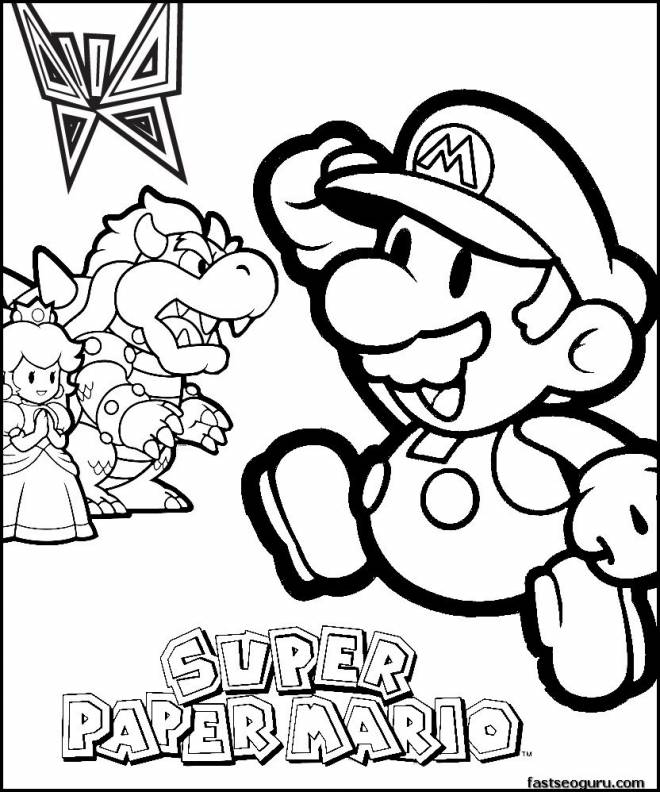 Free coloring and drawings Super Mario Logo Coloring page
