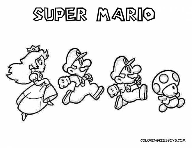 Free coloring and drawings Super Mario running easy Coloring page