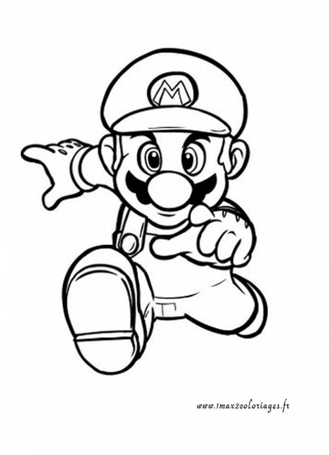 Free coloring and drawings Super Mario running fast Coloring page