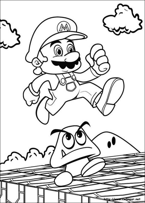 Free coloring and drawings Super Mario while jumping Coloring page