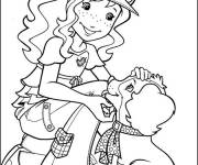 Coloring pages Teen Girl and Dog