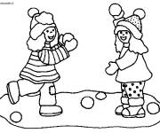 Coloring pages Childhood in Winter