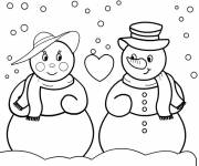Coloring pages couple of snowmen