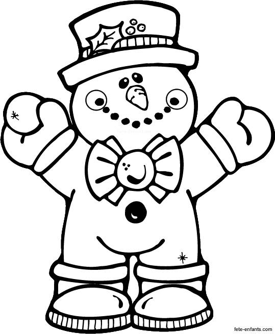 Free coloring and drawings Kindergarten Snowman Winter Coloring page