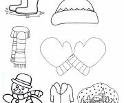 Coloring pages Winter clothes in color