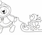 Free coloring and drawings Winter Kindergarten for children Coloring page