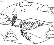 Coloring pages Winter landscape to cut out