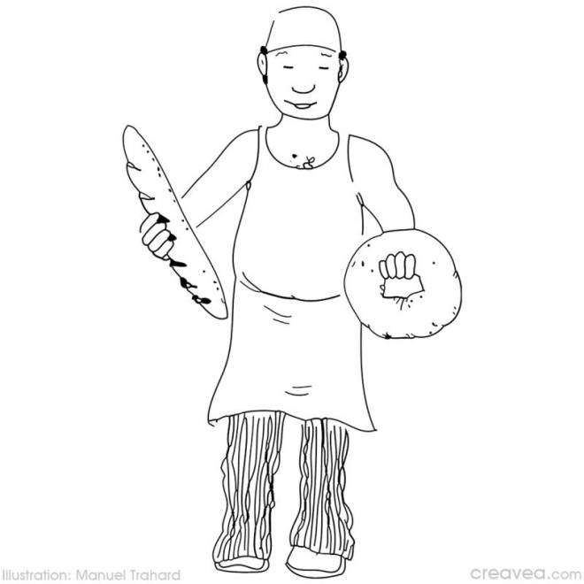Free coloring and drawings A baker Coloring page