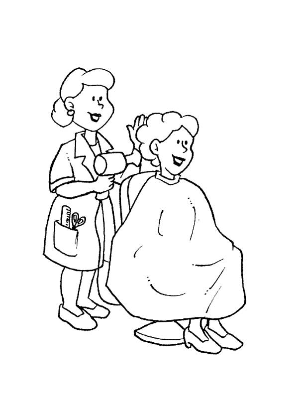 Free coloring and drawings A hairdresser Coloring page