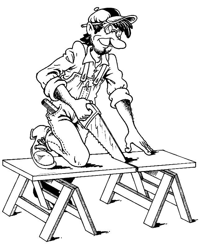 Free coloring and drawings A humorous carpenter Coloring page