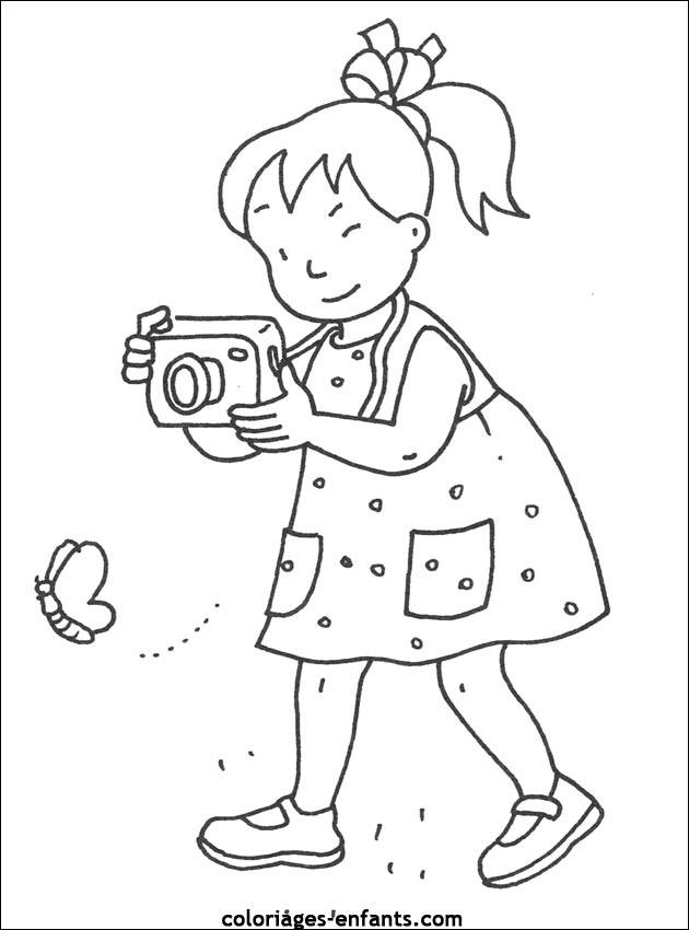 Free coloring and drawings A Little Girl Photographer Coloring page
