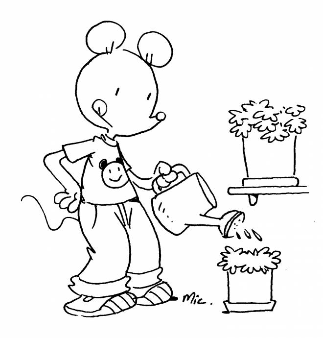 Free coloring and drawings A Mouse Gardening Coloring page
