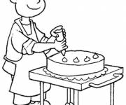 Free coloring and drawings A pastry chef decorates the cake Coloring page