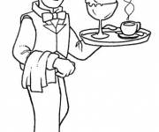 Coloring pages A smiling waiter