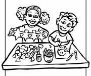 Free coloring and drawings Children do manual activities Coloring page