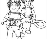 Free coloring and drawings Firefighters in action Coloring page