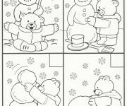 Coloring pages Bear builds the Snowman in Winter