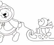 Free coloring and drawings Cartoon winter animals Coloring page