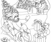 Free coloring and drawings Christmas Maternal Winter Coloring page