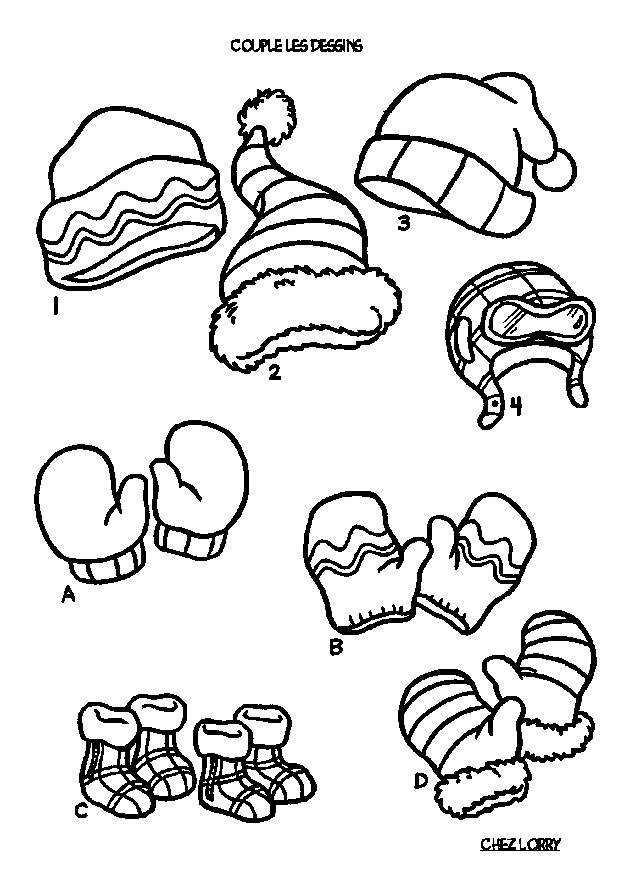 Free coloring and drawings Clothes to warm up in Winter Coloring page