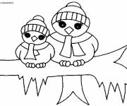 Free coloring and drawings Penguins in Maternal Winter Coloring page