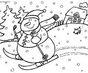 Coloring pages Snowman Skiing in Winter