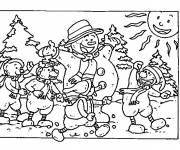 Free coloring and drawings Winter landscape Coloring page