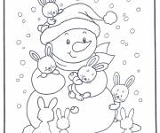 Coloring pages Snowman and Rabbits