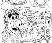 Coloring pages Alf listens to music
