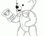 Coloring pages Teddy puts on gloves