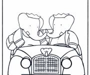 Coloring pages Babar and Celeste