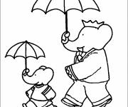 Coloring pages Babar and his son