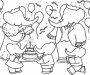 Coloring pages Babar at a birthday party