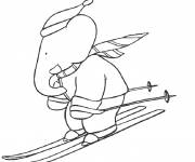 Coloring pages Babar is skiing