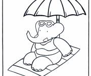 Coloring pages Babar on the beach