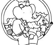 Coloring pages babar's Family