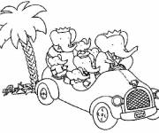 Coloring pages Babar with his family