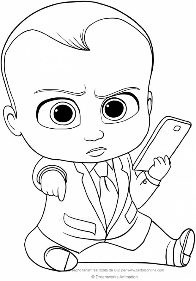 Free coloring and drawings Baby Boss and his laptop Coloring page
