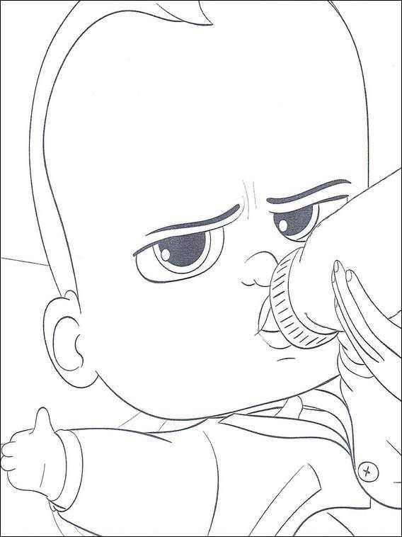 Free coloring and drawings Baby Boss drinks his bottle Coloring page