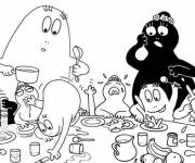 Coloring pages Barbapapas at the table