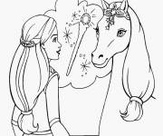 Coloring pages Barbie and her horse