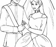 Coloring pages Barbie and Ken get married