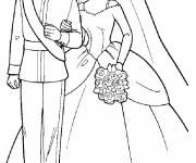 Coloring pages Barbie and Ken the wedding